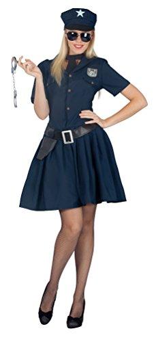 ostüm Sexy Polizistin Cop Damen-Kostüm Karneval Polizei Kleid + Gürtel inkl. Polizeimütze Größe 40/42 ()