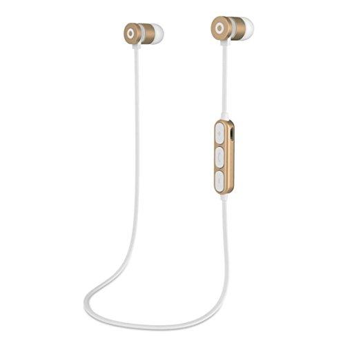 Malloom® Metall Magnet Wireless Bluetooth Kopfhörer Headset Kopfhörer für iPhone Samsung Metall magnetischer drahtloser Bluetooth-Kopfhörer In-Ohr-Stereo-Bluetooth-Kopfhörer (gold) Bluetooth-kopfhörer Jack
