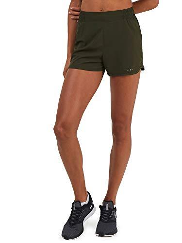 Kordelzug Laufhosen (TCA Damen Fit Laufshorts/Laufhose mit Kordelzug & Reißverschlusstasche - Waldgrün, S)