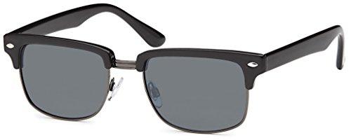 Original La Optica Unisex Retro Sonnenbrille mit UV400 Schutz - Verschiedene Designs, Farben und Sets (Glänzend Schwarz (Gläser: Grau))