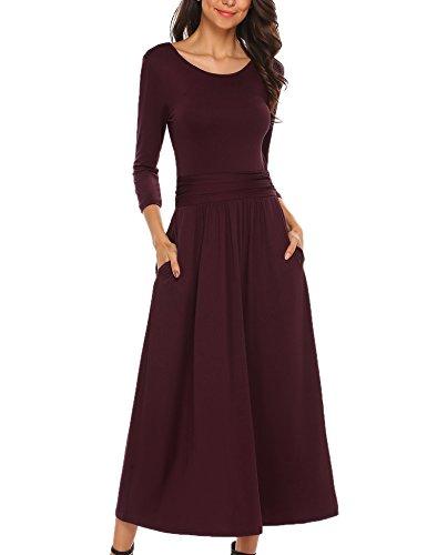 Meaneor Damen Elegant Maxikleid Abendkleid Cocktailkleid Kontrast Kleid 3/4 Arm Jersey Bodenlang Tailliert Rundhals Hersbt Winter, Weinrot, Gr. S (3/4 Jersey)