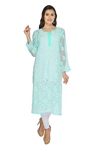 ADA Handmade Lucknow Chikankari Casual Wear Faux Georgette Kurta Kurti A173372