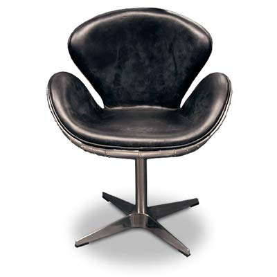 Casa Padrino Luxus Art Deco Schreibtisch Stuhl Echtleder Schwarz/Aluminium Drehstuhl Drehsessel - Chefsessel - Air Wing Flugzeug Vintage Sessel Stuhl