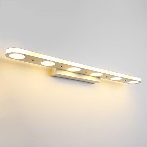 LED-Spiegel-Scheinwerfer-Waschtisch-Lampen-Badezimmer-Wand-Lampen-Verfassungs-Tabellen-Beleuchtung-Badezimmer-wasserdichte Nebel-Wand-Lampe, Farben-Metalllampen-Körper + Acrylschablone, sechs Lampe, 18w, warmes Licht, weißes Licht ( Color : Warm light ) (Sechs Licht-spiegel-eitelkeit-lampe)