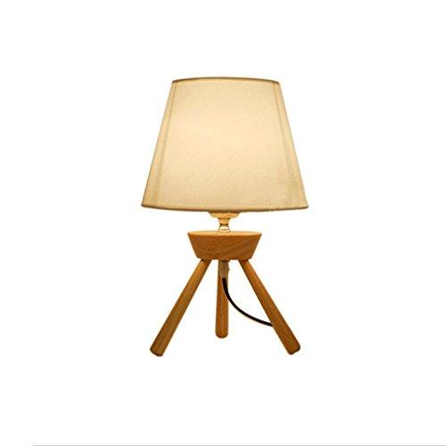 uus Lampe de bureau en bois massif trépied support LED chambre lampe de chevet E27 ampoule base 14 * 36cm lumière chaude (économie d'énergie A +) (Couleur : Warm light14*36cm)