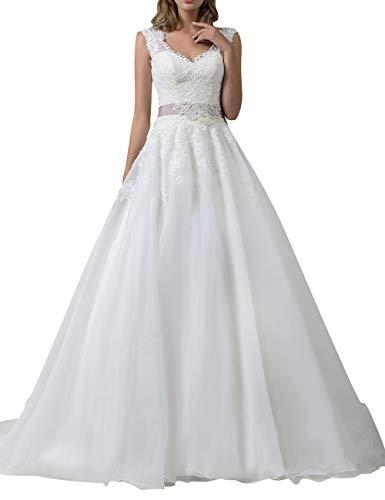 Hochzeitskleid A-Linie Brautkleid Lang Spitze V-Ausschnitt Brautmode Rückenfrei Weiß EUR34