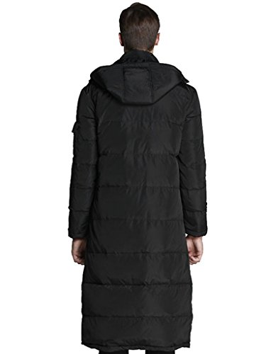 LYXCLS Men's Warm Hooded Winter Duck Down Long Down Coat Jacket Black