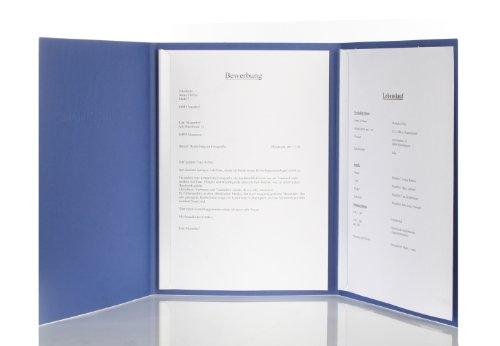 5 Stück 3-teilige Bewerbungsmappen blau mit 2 Klemmschienen in feinster Lederstruktur // inkl. 5 Versandumschläge in weiß // hochwertige Prägung '' BEWERBUNG '' // in 1A-Premium-Qualität direkt vom Hersteller STRATAG // Produkt-Design von '' Mario Lemani ''