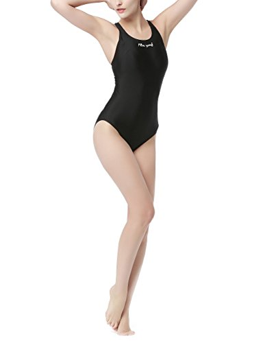 Hysenm Femme Fille Maillot de Bain 1 Pièce Compétition Hydrodynamisme Ultra Élastique noir