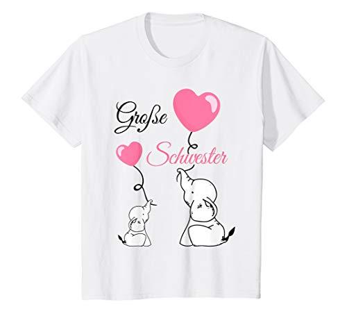 Kinder Große Schwester Babyparty Elefanten Mädchen T-Shirt
