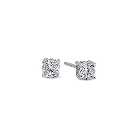 Round Cut Clear Synthetic Gemstone 4mm CZ Sterling Silver Stud Earrings + Cleaning Cloth