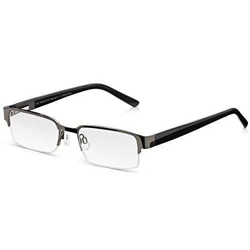 Read Optics Lesebrille Herren: Rechteckige Retro Brille mit schwarzer Halbfassung, Federscharnieren und kratzfesten Gläsern mit Blendschutz. Moderne Lesehilfe in Stärke +3,5 ohne Verschreibung -