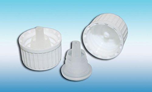 Schraubverschluss mit Tropfer UNI 2 - weiß 25 Stück, für Glasflaschen mit DIN 18-Gewinde Apothekerflasche, Laborflasche, Medizinflasche, Tropferflasche, Braunglasflasche, Blauglasflasche