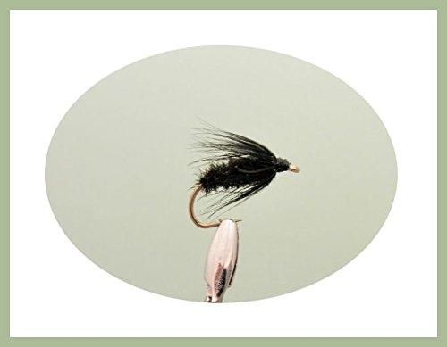 Lot de 12humide Noir et paon Spider mouches de pêche. Tailles mixtes 10, 12