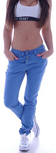 Damen Boyfriend Jeans Boyfriendcut Hose Baggy Haremshose Chino Blau XS 34 S 36 M 38 L 40 XL 42 (M 38)