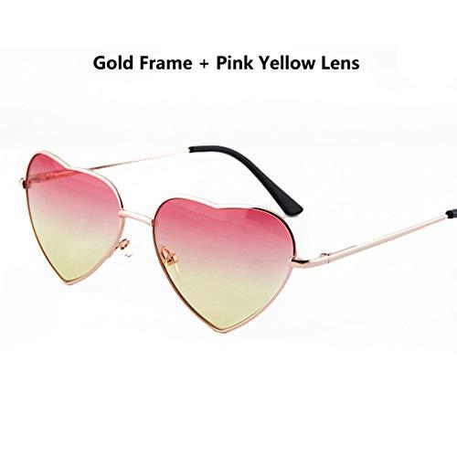 Sonnenbrille Jungen Mädchen Metallrahmen Multicolor Kinder Sonnenbrille Designer Beschichtung Fashion Girls Kinder Herz Geformte Brille Rosa Gelb