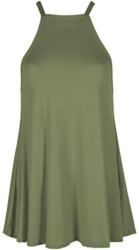 Aramoniat Débardeur - Body Chemise - Uni - sans Manche - Femme Kaki