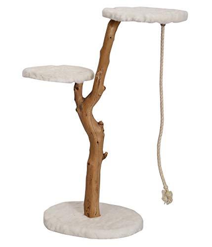 Dehner Premium Katzen-Kratzbaum Nero, ca. 109 x 50 x 40 cm, Holz/Plüsch, braun/weiß