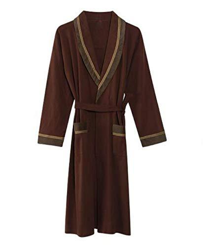 Herren Langarm Robe Stricken Seil Yukata Pyjamas Herbst und Winter Japanische Kimono Bademäntel (Farbe : Brown, größe : M) -