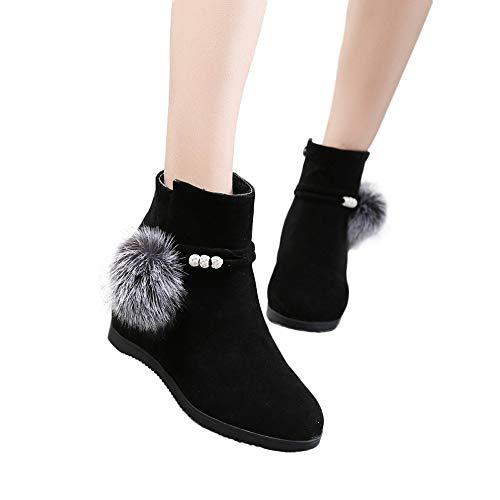 MYMYG Frauen Chelsea Boots Stiefel Wildleder Haarballen Round Toe Wedges Schuhe Reine Farbe Reißverschluss Stiefel Western Cowboy Ankle Booties