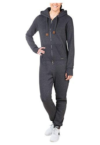 Damen Kuscheliger Jumpsuit | Einteiler aus bequemen Sweat dark grey - 4