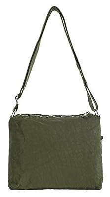 Big Handbag Shop Women Multiple Zip Pocket Lightweight Rainproof Fabric Messenger Cross Body Shoulder Bag - Small Size