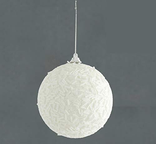 Toyland  pallina natalizia bianca lucida con perline glitter grande 120mm - decorazione dell'albero di natale