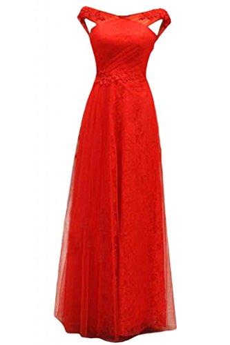 Sunvary 2014-Cartamodello per vestiti da sera, pizzo A-line di Tulle Il retro A V Red
