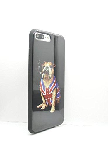 OLIVIASPHONES iPhone 8 Plus - Schwarze britische Bulldogge Union Jack Taille Mantel Jacke Zigarar Smoke Slim Fit Gel Back Case Cover Tempered Glass Displayschutzfolie Saver -