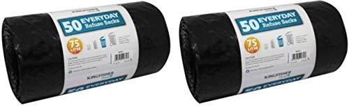 Kingfisher 50 Quotidien Poubelle Revêtements Sacs Poubelles pour Poubelle 75 litres Taille Sacs (50 Sacs) - Noir