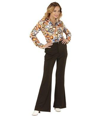 Schlaghose Damen Groovy Retro Schlager Hippie Hose mit Schlag (L/XL, schwarz) (Groovy Disco Hemd Für Erwachsene Kostüme)