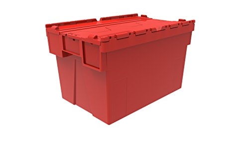 5 x Colour Coded Attached Lidded Plastic Box 65 Litres - Red, Blue or Green Plastic Storage Box Container Crate Tote with Tessellated Lid Design - Attached Lid Box (Red) by Solent Plastics