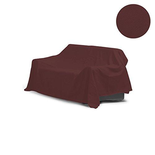 Nurtextil24 Leinen-Optik Sofaüberwurf in 35 Farben und 4 Größen Sessel Überwurf Bordeaux 250 x 175 cm
