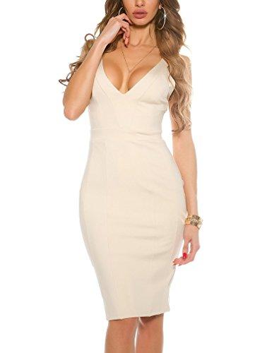 Cocktail-Kleid in Midi-Länge sexy V-Ausschnitt S/M