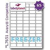 65 Per Page/Sheet, 5 Sheets (325 Sticky MINI FREEZER Labels), Label Planet® White Blank Matt Self-Adhesive A4 Deep Freeze Stickers, For Frozen Food/Products Printable With Laser or Inkjet Printers, UK LP65/38 DF, 38.1 x 21.2 MM, JAM FREE PRINTING