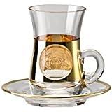 Rosenthal Versace Medusa locura oro vaso de té y platillo bombilla