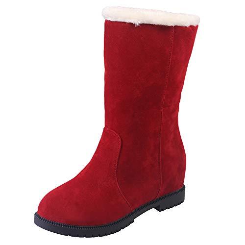 Holywin Frauen Suede Round Toe Wedges Slip-On Schuhe Reine Farbe Booties halten warme Schuhe