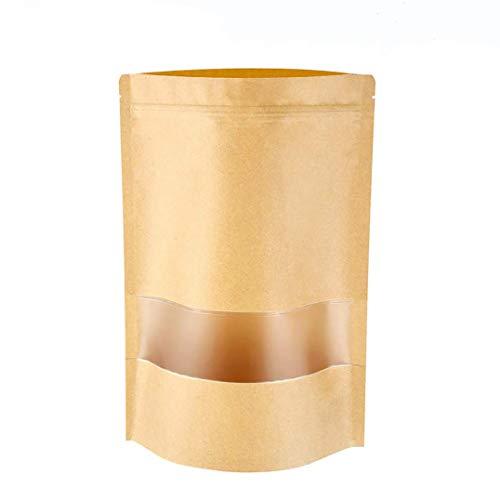Meridy Bolsa Papel Kraft Reutilizables Marrón Ziplock