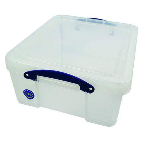 3 x Really Useful Box 18 Liter - 480 x 390 x 200 mm - für 93 CDs / 44 DVDs - transparent
