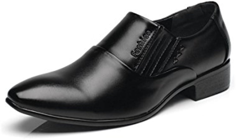 HYLM hombres de cuero genuino negocio vestido zapatos casual Oxfords boda dedo punta , black , 42