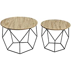 Mesas de centro Modernas Tapa de Madera extraíble y Cesta de Metal | Diseño geométrico