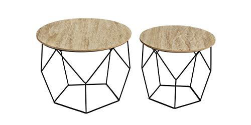 LIFA LIVING® 2er Set Beistelltisch aus schwarzem Metall und einer MDF-Holz Platte | Runde Couchtische mit Korbfunktion im geometrischen Vintagestil und Industriestil | Bis zu 20kg Belastbarkeit