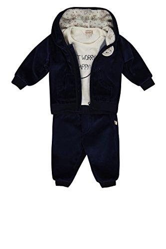 Kanz Unisex Baby Sweatjacke m. Kapuze + T-Shirt 1/1 Arm + Jogginghose Bekleidungsset, Blau (Dress Blue 3043), Herstellergröße: 56 Baby Winter Jacke