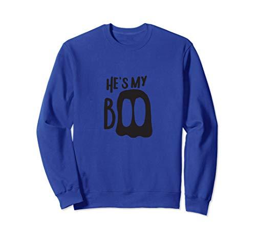 He's My Boo Passende Halloween-Partner-Kostüme für Paare Sweatshirt (Passende Kostüm Für Paare)