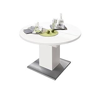 möbelando Esszimmertisch Tisch Esstisch Küchentisch Speisentisch Holztisch Judd II weiß matt/Edelstahloptik