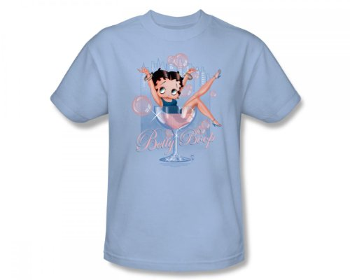 Betty Boop - Pink Champagne Slim Fit Adult T-Shirt In Light Blue, Small, Light Blue