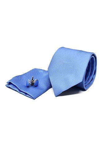 Corbata, Pañuelo y Gemelos Azul Claro (Caja de Lujo), 100 % Seda - Oxford Collection -