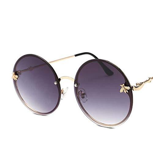 CCMOO Rot Brille Runde Sonnenbrille intage Damen Runde Sonnenbrille Herren Retro Big Metal Bee Frame-3