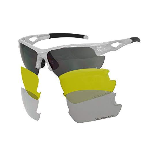 VeloChampion Tornado Sonnenbrille, Rot, mit 3 Linsen und weichem Gehäuse (Weiß)