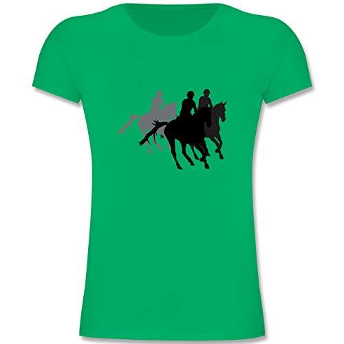 Sport Kind - Freizeitreiten Ausreiten Reiten - 152 (12-13 Jahre) - Grün - F131K - Mädchen Kinder T-Shirt -